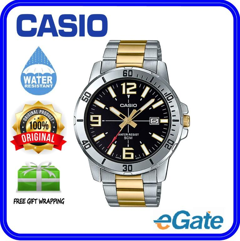 Casio MTP-VD01SG-1BV Men Analog Date Functioning Two-Tone Silver & Gold Stainless Steel Strap Black Dial Original Casual Watch MTP-VD01SG