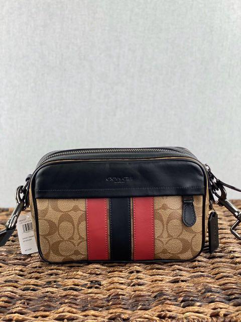 Coach Graham Crossbody in Signature Canvas with Varsity Stripe in Tan