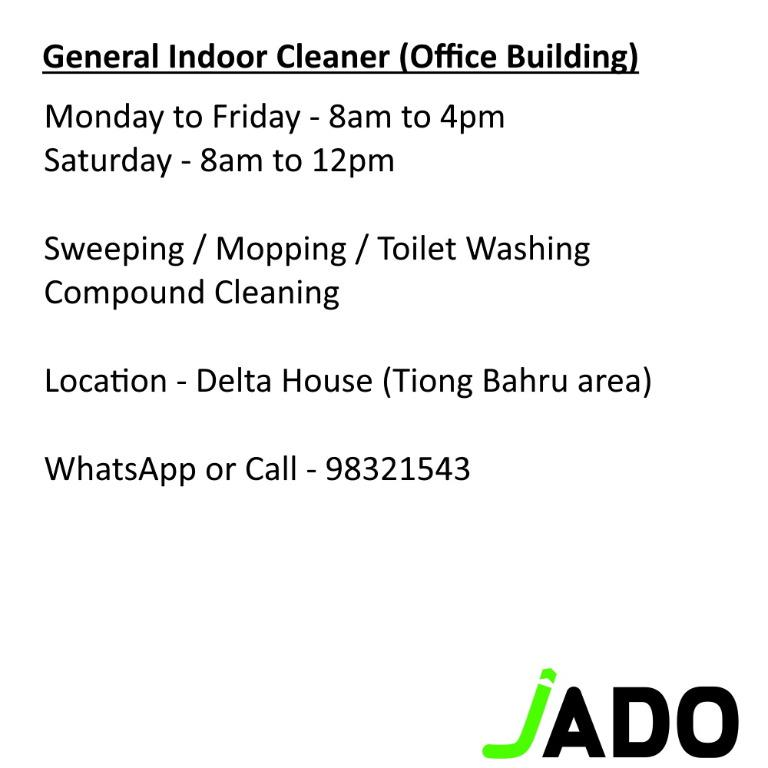 Cleaner Position and Officer Cleaner (Cash and Monthly Pay)