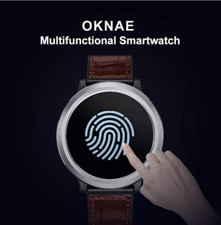 (M875) OKNAE Smartwatch with Heart Rate Sleep Sports, IP67 Waterproof Fitness Smartwatch,Sportswatch Compatible with Android and IOS for Most Types of Smartphone Leather Strap, Black&Brown