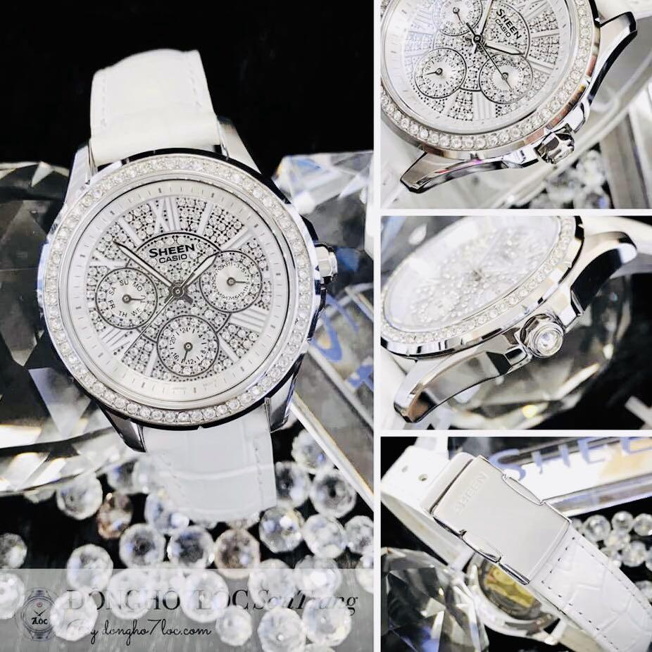 NEW🌟SHEEN GLAMOUR WATCH : 100% ORIGINAL AUTHENTIC CASIO SHEEN : by BABY-G SHOCK ( GSHOCK )  Company : Swarovski Crystal & Element : SHE-3504L-7AUDR ( WHITE DOVE)