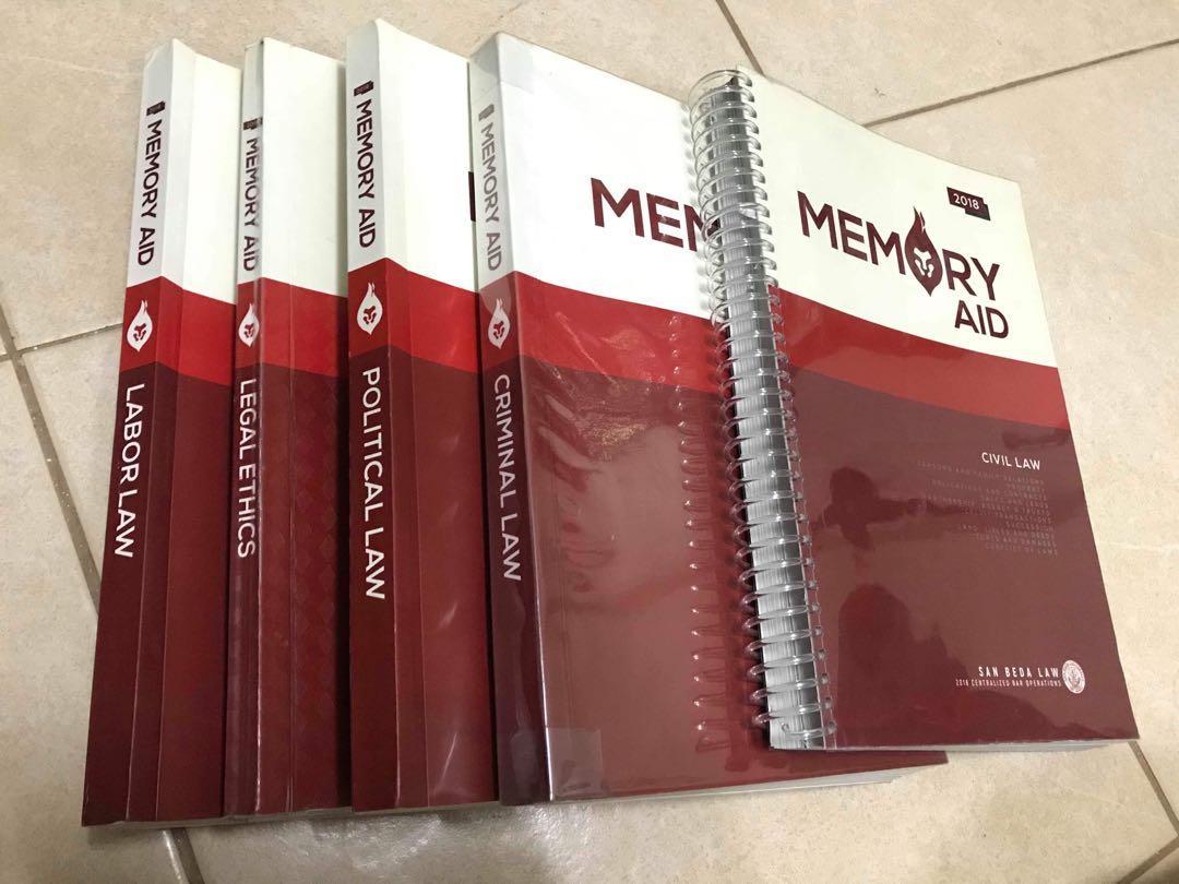 San Beda Memory Aid: political law, labor law, legal ethics, criminal law, civil law