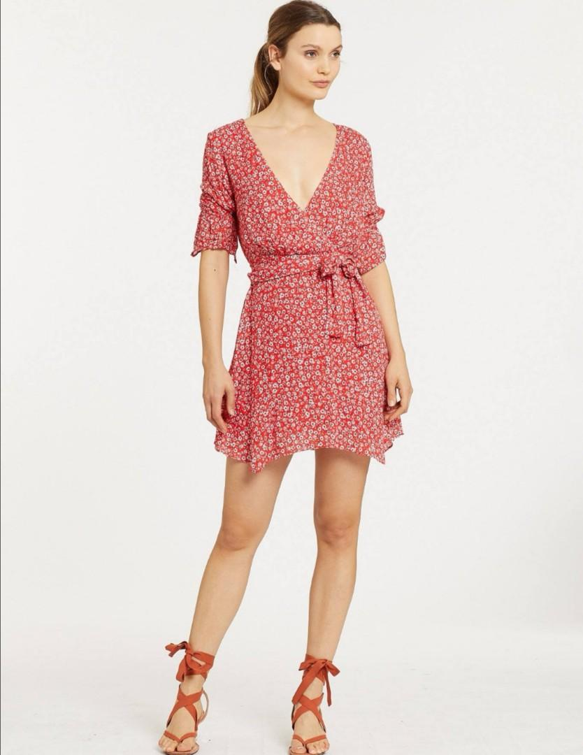 Stevie May Claret Mini Dress in Red Floral - Size M RRP $240