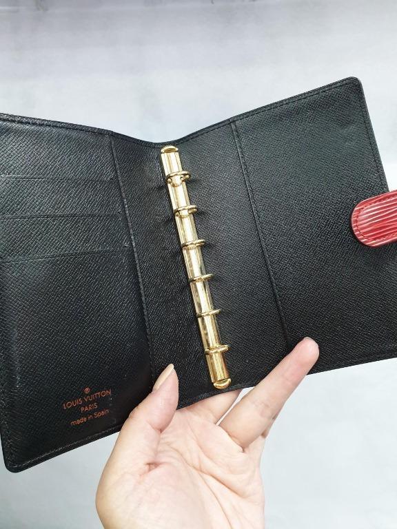 Used Preloved Louis Vuitton LV Epi Leather Unisex Men Women Agenda Passport Holder Case Notebook (Red)