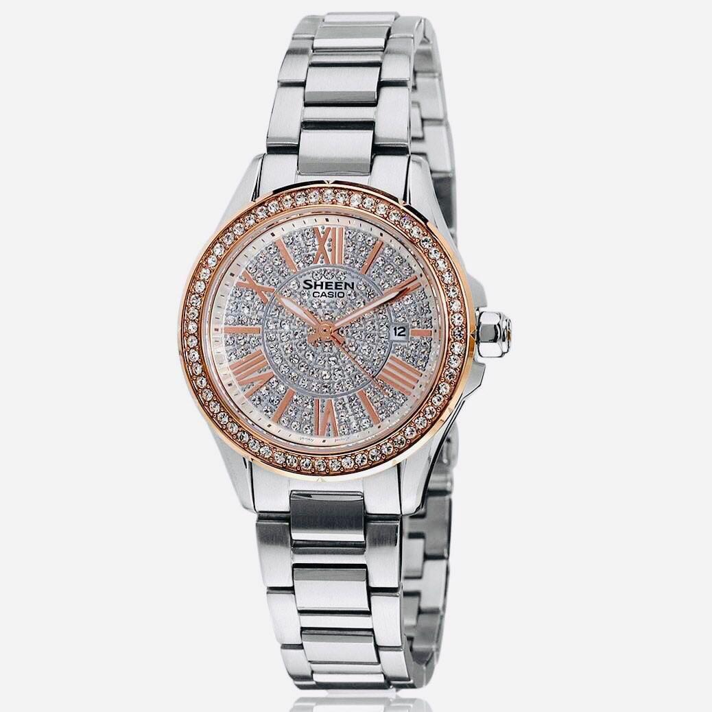NEW🌟SHEEN GLAMOUR WATCH : 100% ORIGINAL AUTHENTIC CASIO SHEEN : by BABY-G SHOCK ( GSHOCK )  Company : Swarovski Crystal & Element : SHE-4510SG-7AUDR (SILVER ROSE-GOLD)