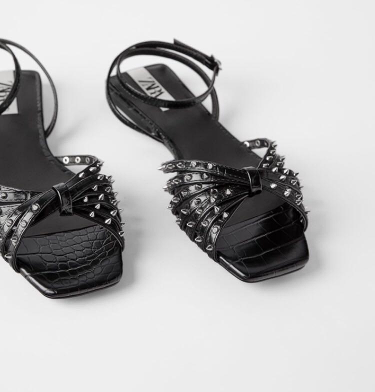 Zara flat black sandals Sz 38 Bnwt square cut toe & heel buckle strap black