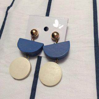 Blue and White Wood Textured Earrings