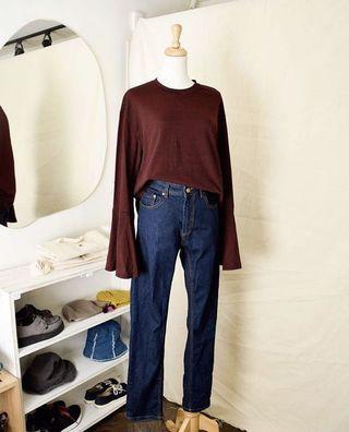 韓製🌸紅黑條紋喇叭袖棉上衣