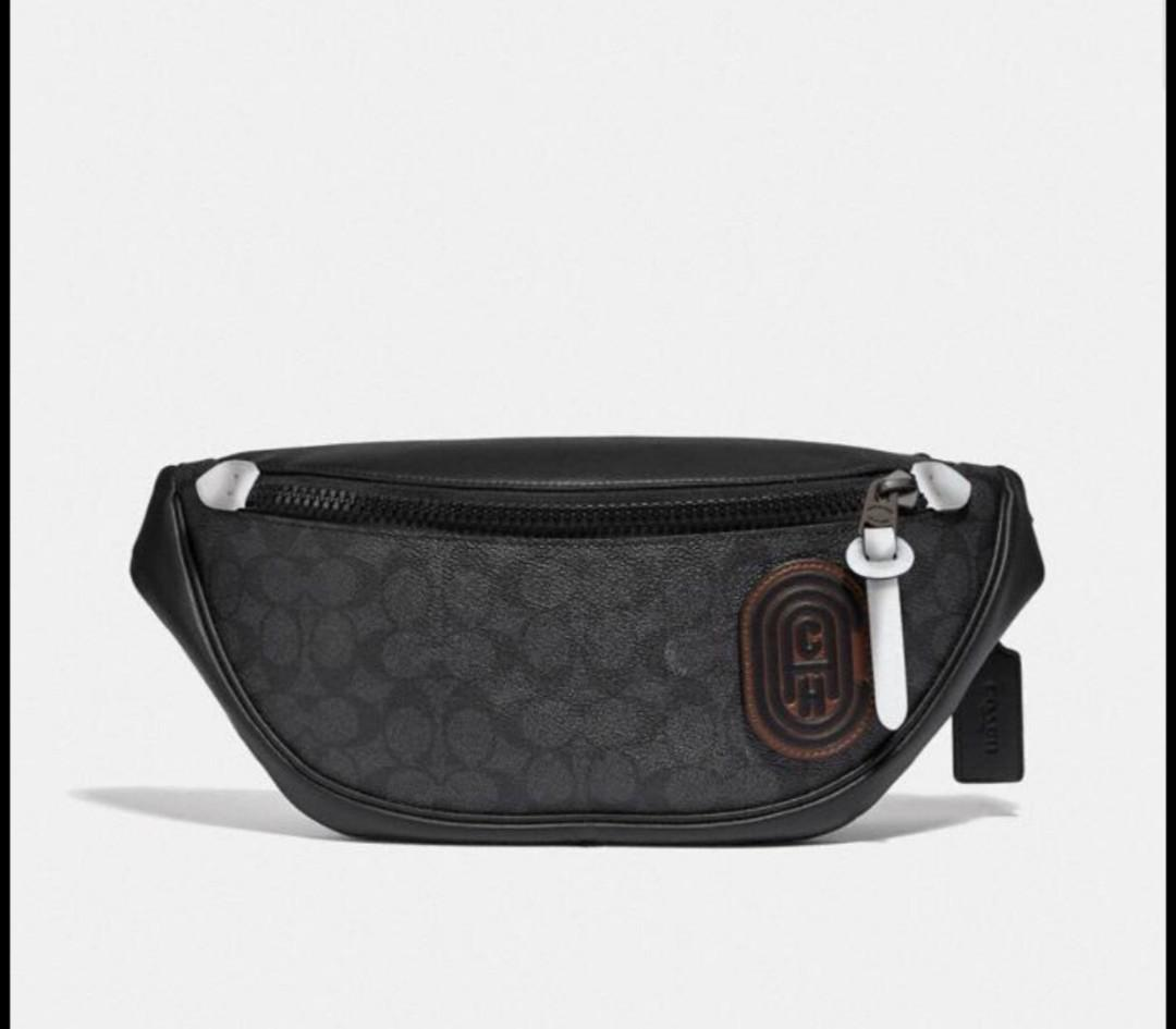 Authentic Rivington Belt Bag In Signature Canvas With Coach Patch (79037)