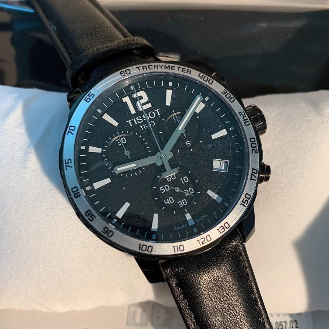 Authentic Tissot Quickster Chronograph Black Dial Men's Watch T095.417.36.057.02
