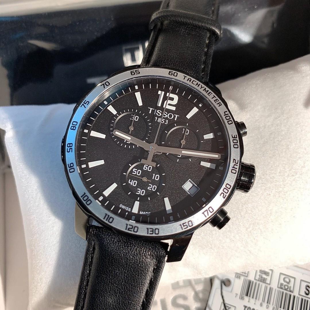 Authentic Tissot Quickster Chronograph Black Dial Men's Watch T095.417.36.057.02