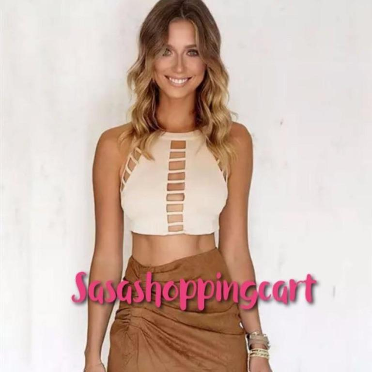 (Beige)Europe and the United States Street shot ultra-short section of the umbrella solid color hanging neck hollow small tape sexy top