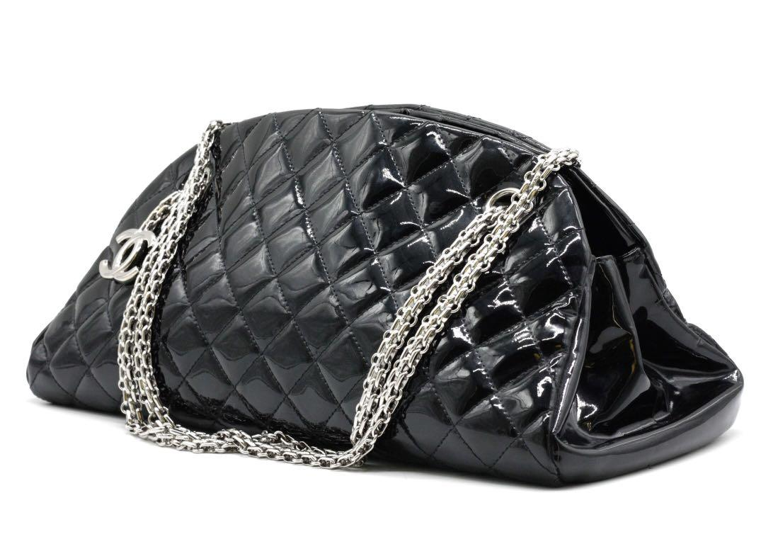 CHANEL Quilted Patent Just Mademoiselle Bowling Bag
