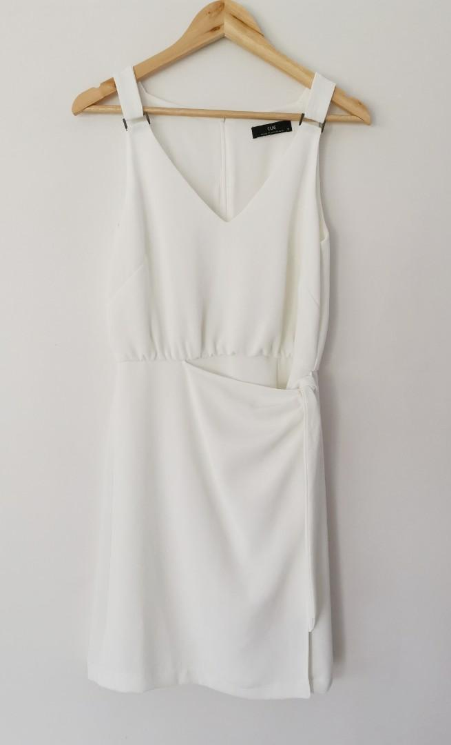 Cue Crepe Tie Waist Dress in White - Size 8 RRP $255 Current Season!!