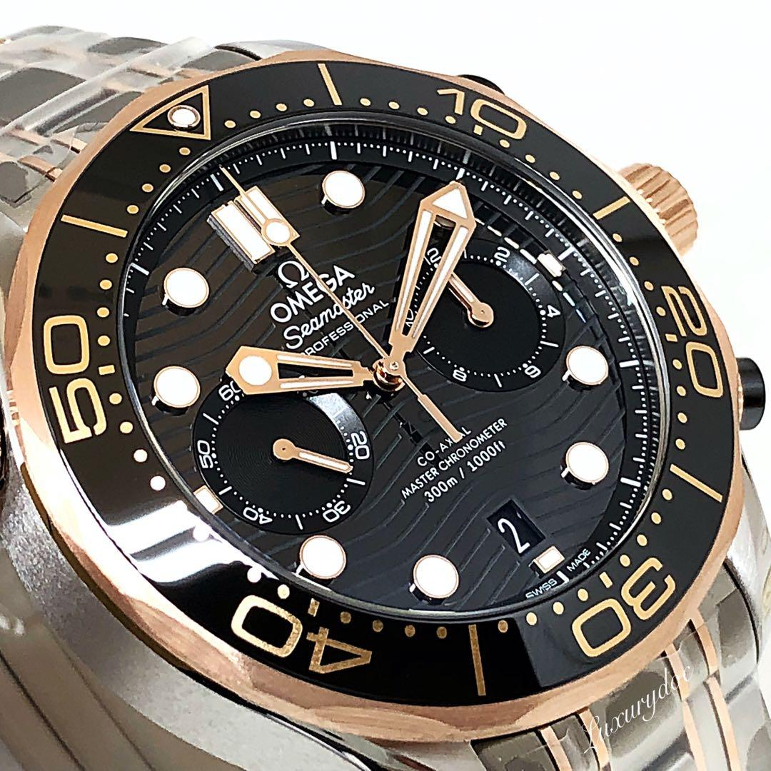 FS.BNIB OMEGA SEAMASTER DIVER 300M CO-AXIAL MASTER CHRONOMETER  AUTOMATIC CHRONOGRAPH SEDNA GOLD ON STEEL BLACK DIAL 44MM WATCH 210.20.44.51.01.001