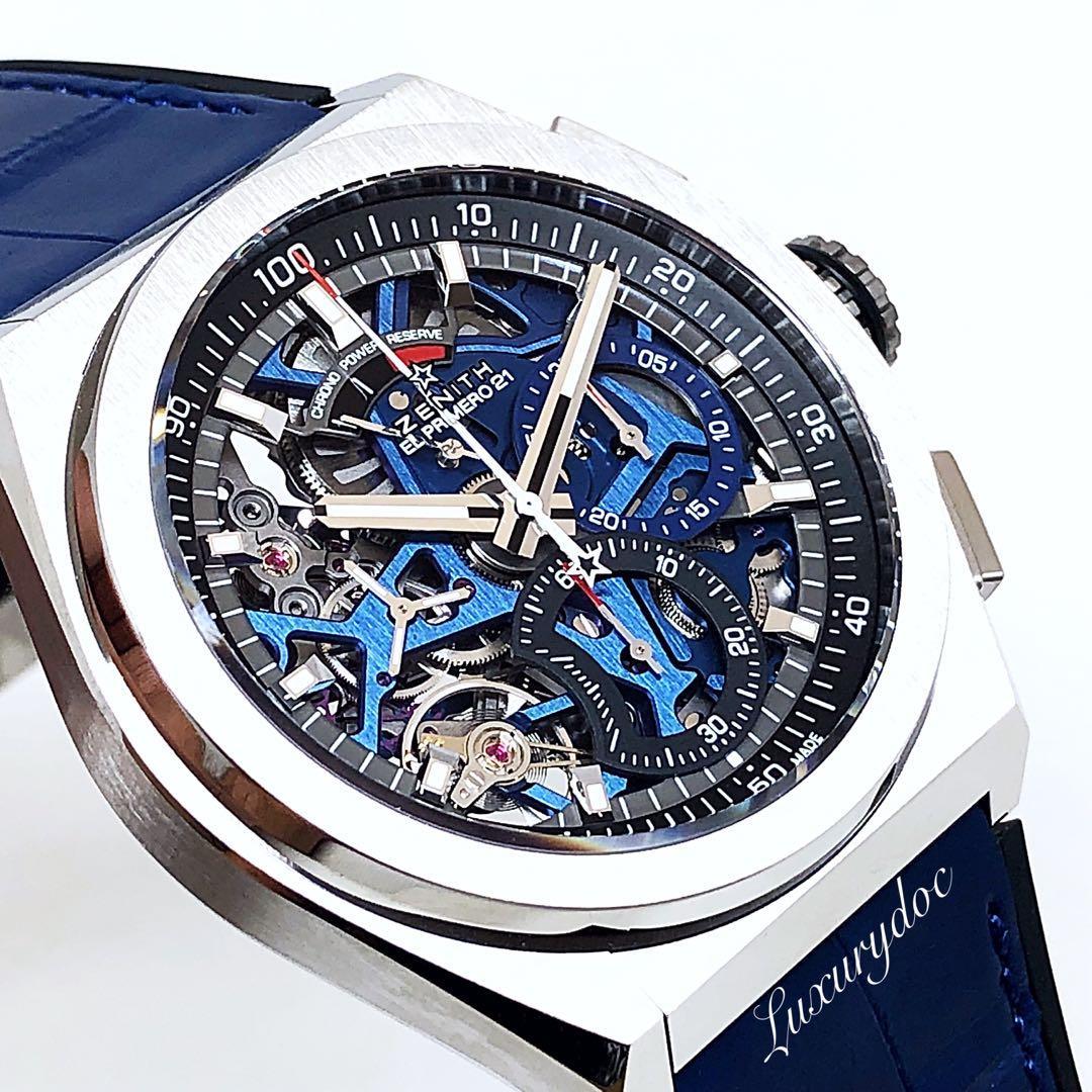 FS.BNIB ZENITH DEFY EL PRIMERIO 21 AUTOMATIC CHRONOGRAPH SKELETON TITANIUM 44MM BLUE WATCH 95.9002.9004/78.R584
