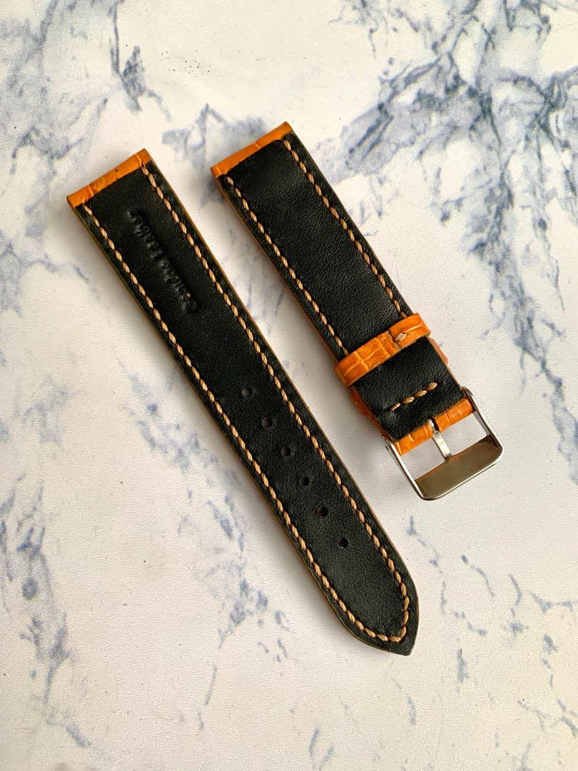 20mm/18mm Rich Gold Brown Alligator 🐊 Crocodile Watch Strap (True to colour) 20mm@lug/18mm@buckle      Standard length:L-120mm,S-75mm (goes v well with black dial and grey dial watch)