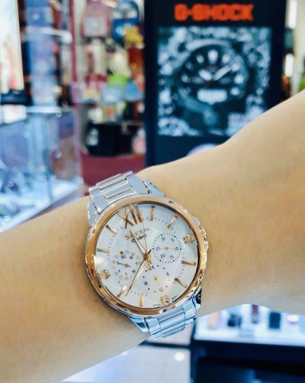 NEW🌟SHEEN PEARL WATCH : 100% ORIGINAL AUTHENTIC CASIO SHEEN : by BABY-G SHOCK ( GSHOCK )  Company : Swarovski Crystal & Element : SHE-3056SG-7AUDR (SILVER CRYSTAL-ROSE GOLD)