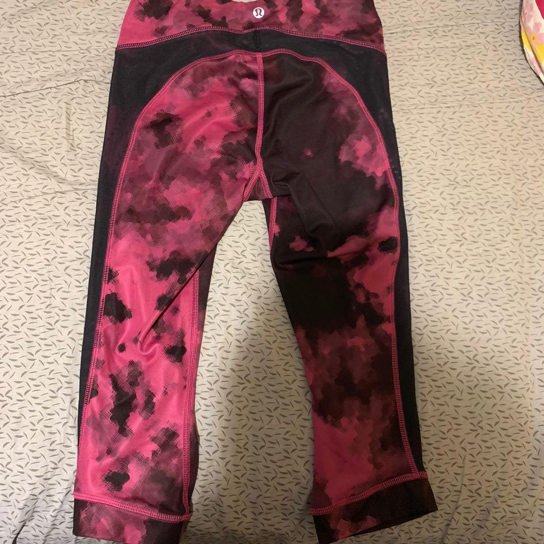 Like new Lululemon Cropped Mesh Tie Dye Pink Leggings