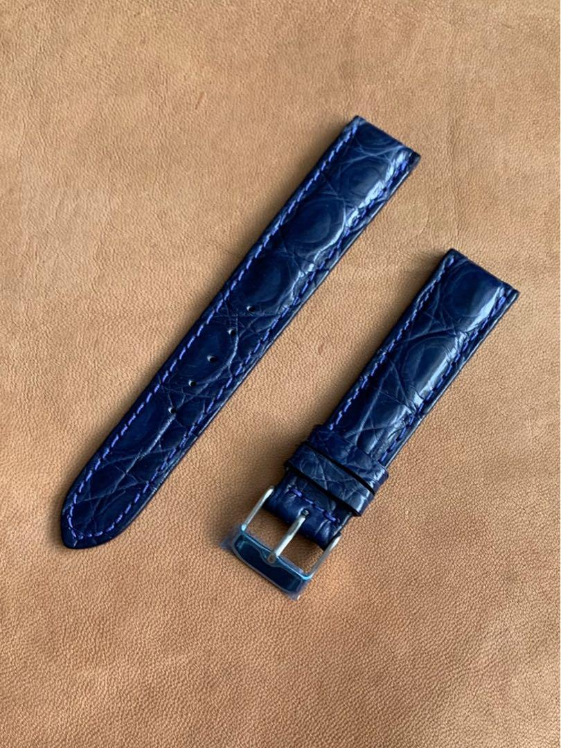 18mm/16mm Dark Blue 🐊Alligator Crocodile Watch Strap Rugged Stunning Offshore Scales (only one pièce in this grain 😊) 18mm@lug/16mm@buckle      Standard length:L-120mm,S-75mm
