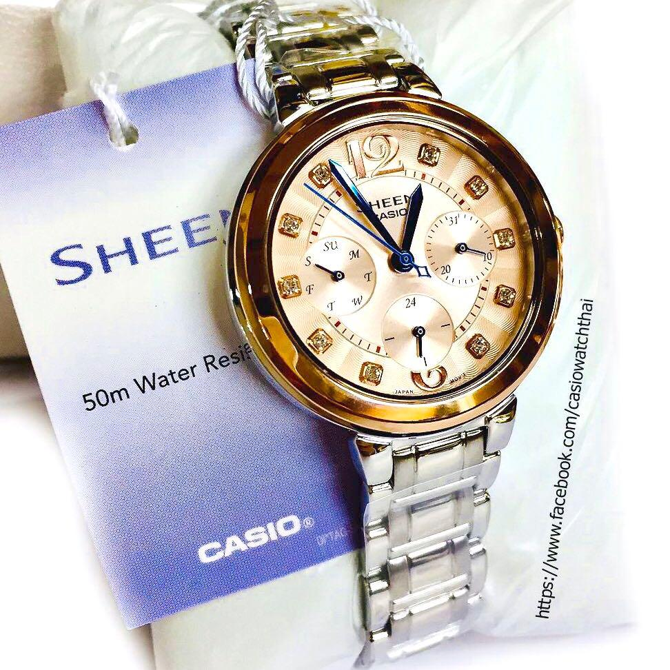 NEW🌟SHEEN GLAMOUR WATCH : 100% ORIGINAL AUTHENTIC CASIO SHEEN : by BABY-G SHOCK ( GSHOCK )  Company : Swarovski Crystal & Element : SHE-3048SG-7AUDR (SILVER CRYSTAL-ROSE GOLD)