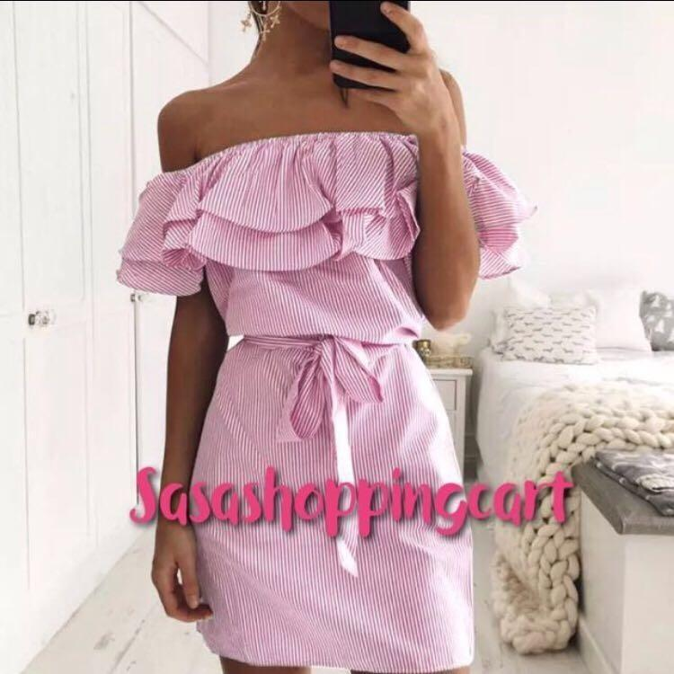 (Pink) striped lotus leaf side of the word collar strapless waist belt wrapped chest dress skirt