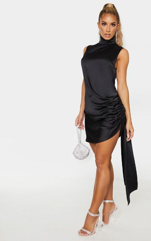 PLT - BNWT - SIZE 4 BLACK SATIN HIGH NECK SIDE KNOT BODYCON DRESS