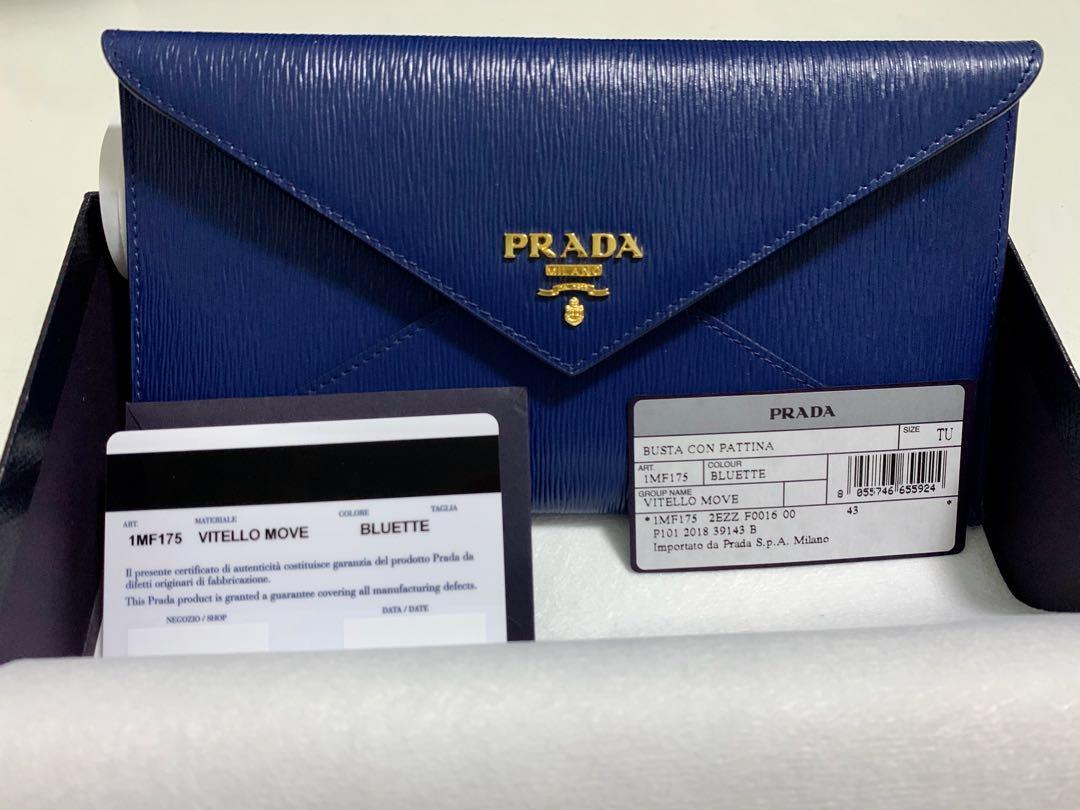 PRADA 1MF175 vitello move leather envelope wallet - nero (black) & bluette (blue) women's with zip coin compartment