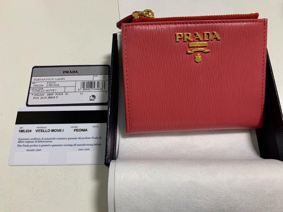 PRADA 1ML024 vitello move leather short bifold wallet - petalo peonia (pink) / bluette mare (blue) / peonia women's with coin zipper compartment
