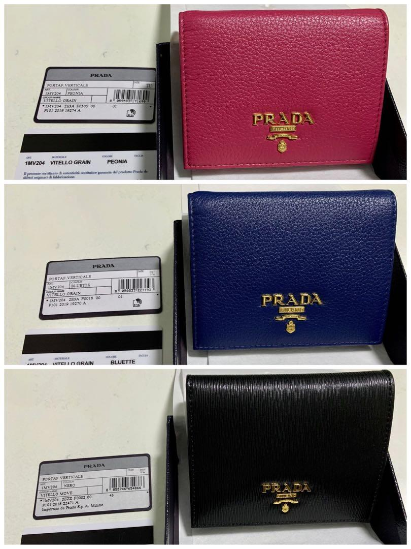 PRADA 1MV204 vitello grain / vitello move leather bifold wallet - peonia (pink) / bluette (blue) / nero (black) women's short with coin