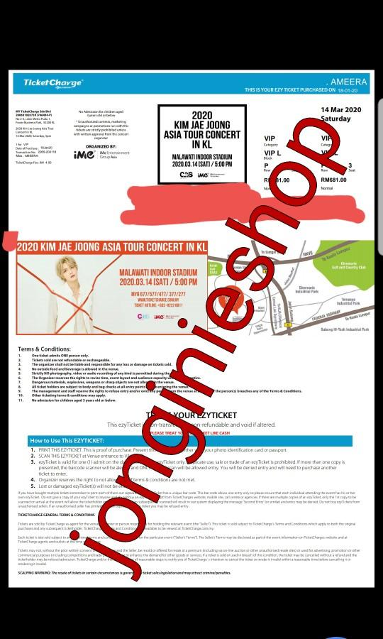 [PROOF] KIM JAE JOONG ASIA TOUR IN KL TICKETING SERVICE