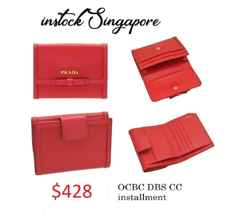 READY STOCK - AUTHENTIC - NEW Prada VITELLO MOVE 1mh523 lacca red fold wallet with coin purse