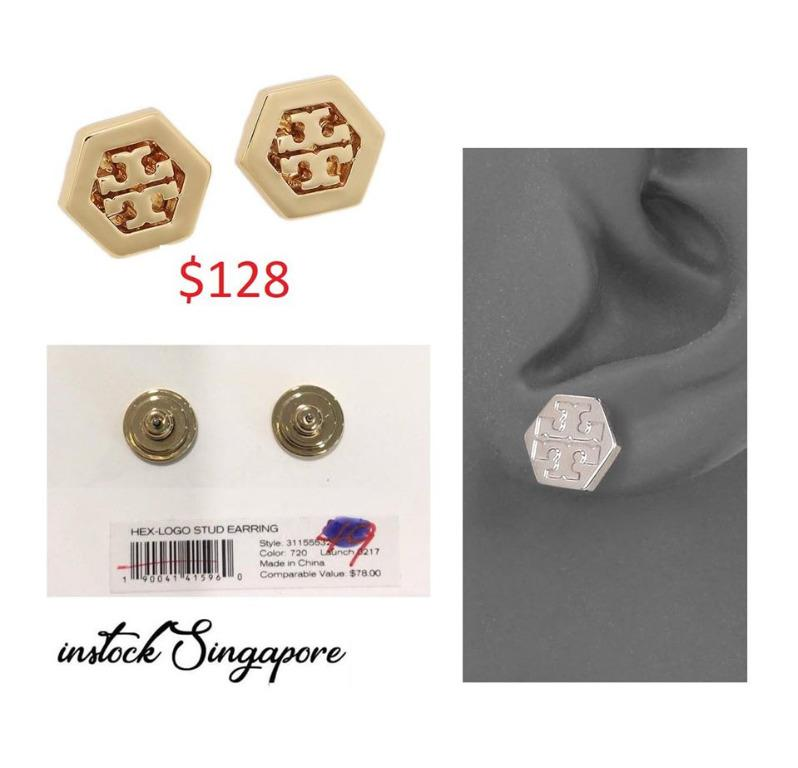READY STOCK authentic new  Tory Burch 31155532 Women's Hex Logo Stud Gold Tone Post Earrings
