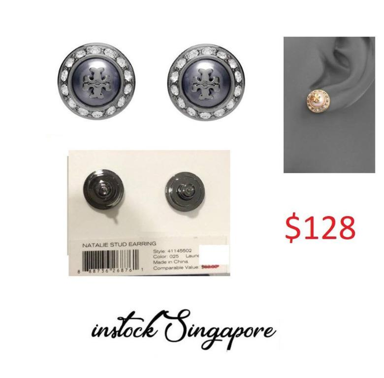 READY STOCK authentic new Tory Burch 41145502 Natalie Domed Logo Gray Black Crystals Stud Earrings