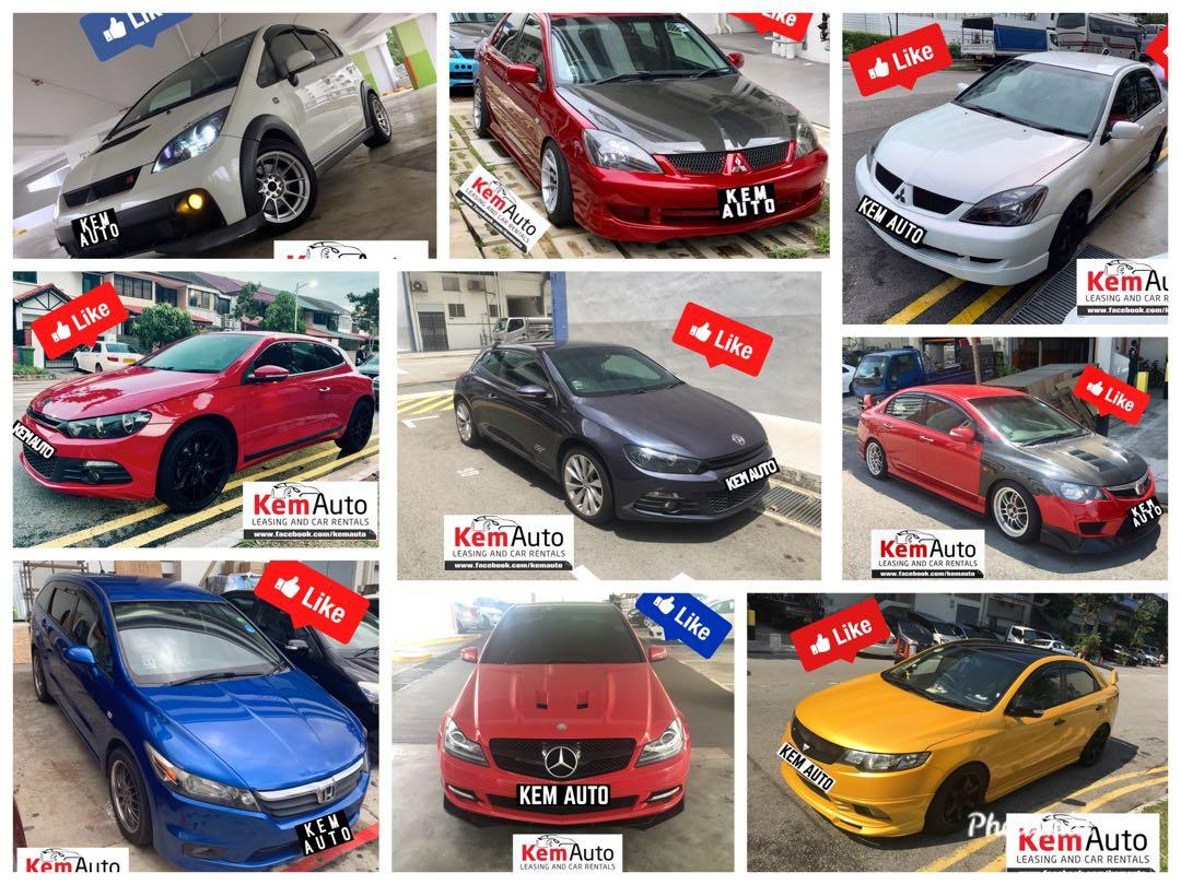 Weekend sporty Car continental MPV rental at Kem Auto (Mercedes C200 Honda Civic Mitsubishi Lancer cs3 glx Ex drift racing
