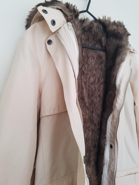 Winter Rain Coat with Detachable Faux Fur Lining - Size S