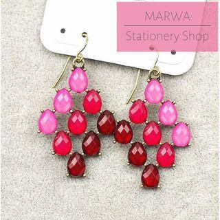 Striking Maroon, Pink & Fuchsia Dangle Dainty Earring (E138)