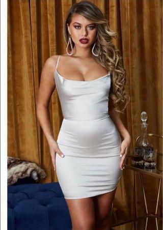 PLT Satin White Dress