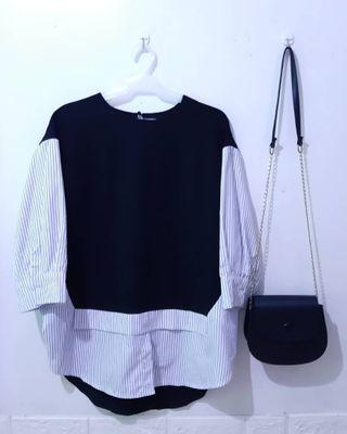 Two-toned Solid Stripes Longsleeve Top