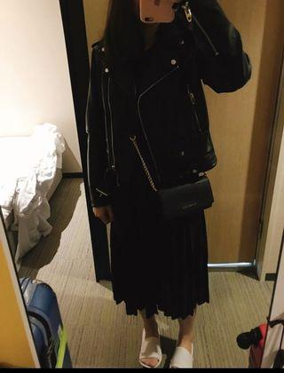 ZARA 黑色蕾絲百摺長裙