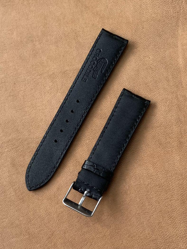 20mm/18mm [DISCOUNTED] Black Crocodile Alligator 🐊 Watch Strap (gorgeous swivel grains) 20mm@lug/18mm@buckle 20mm/18mm     Standard length:L-120mm,S-75mm