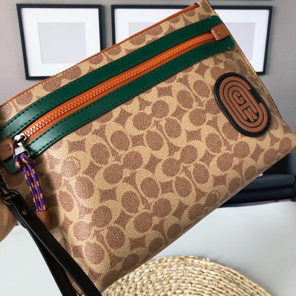 Authentic coach F69213 academy pouch insignature canvas with coach patch