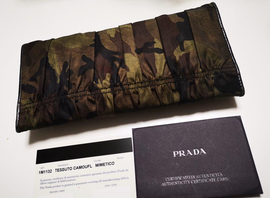 Authentic, legit| 9/10 condition, Prada tessuto camoufl long wallet with care card