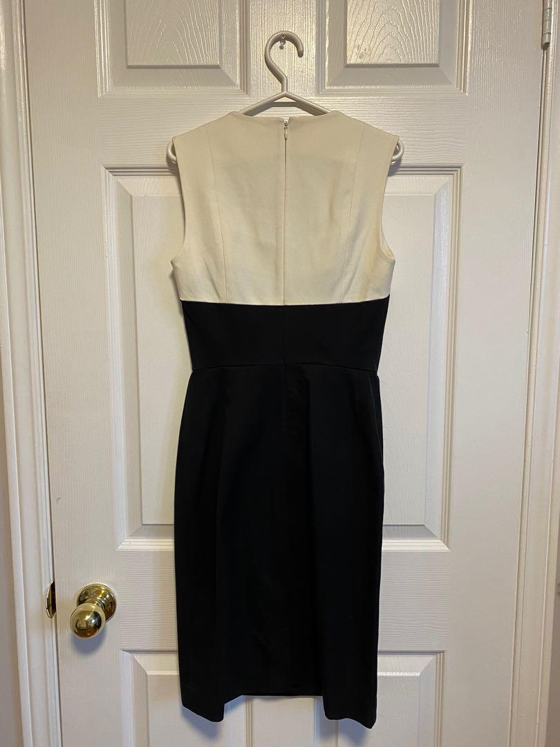 Banana Republic Fitted Black and Off-White Business Dress (size 0)