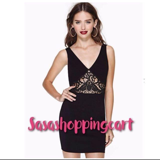 (Black) Burst V-neck lace stitching Slim Slim dress