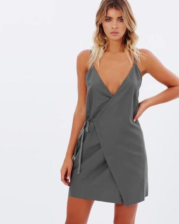 BNWT MAURIE & EVE CHARCOAL LEYENDA WRAP DRESS - SIZE 6 AU/2 US (RRP $149)