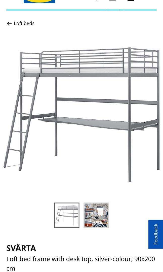 Ikea Loft Bed With Desk Home Furniture Furniture On Carousell