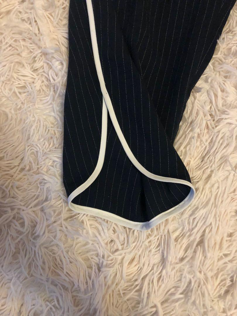 Ivanka Trump striped navy work office pants with white stripe down the side