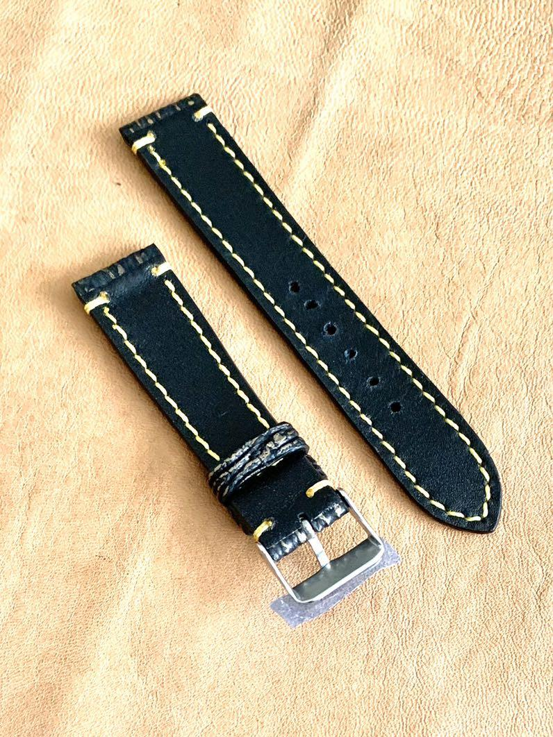 [SOLD] 20mm/18mm Black with Golden Brown Shark 🦈 Leather Watch Strap 20mm@lug/18mm@buckle  (second and last piece 👍🏻😊) standard length: L-120mm, S-75mm