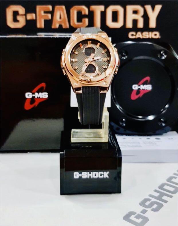 NEW🌟LUXURY BABYG UNISEX DIVER SPORTS WATCH : 100% ORIGINAL AUTHENTIC CASIO BABY-G-SHOCK ( GSHOCK ) : MSG-C100G-1A / MSGC100G-1A ( G-MS ) (BLACK+ROSE-GOLD)